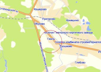 село Гжель на карте