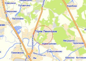 пос. Горки Ленинские на карте