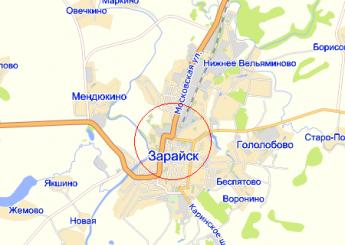 г. Зарайск на карте