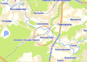 дер. Ивановское на карте