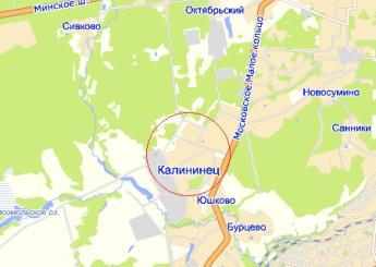 пос. Калининец на карте