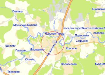 село Красная Пахра на карте