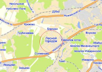 дач.пос. Лесной Городок на карте