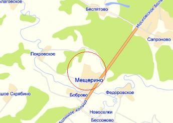 село Мещерино на карте