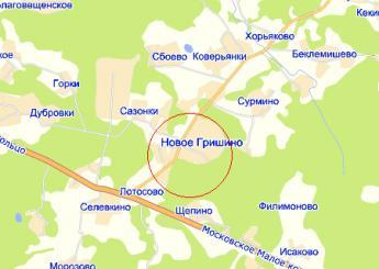 пос. Новое Гришино на карте