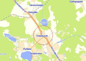 село Озерецкое на карте