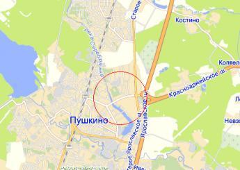 г. Пушкино на карте