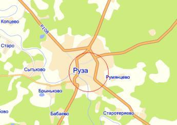 г. Руза на карте