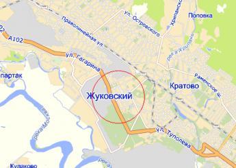 г. Жуковский на карте