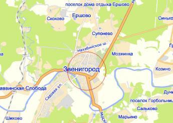 г. Звенигород на карте