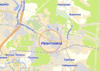 г. Ивантеевка на карте
