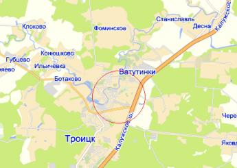 г. Троицк на карте