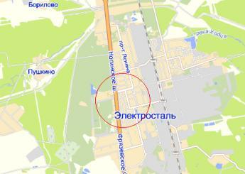 г. Электросталь на карте