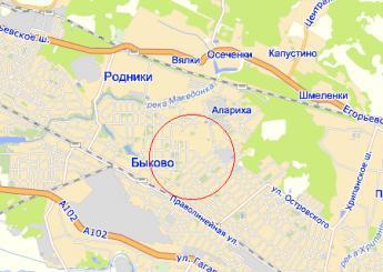 пос. Быково на карте