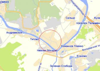 село Верхнее Мячково на карте