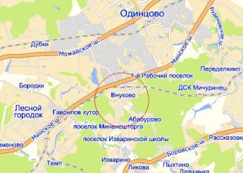 пос. Внуково на карте